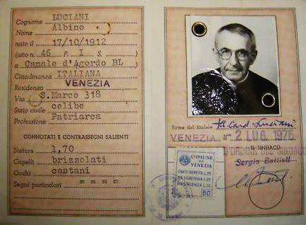 All'asta su eBay la carta d'identità di Papa Giovanni Paolo I!