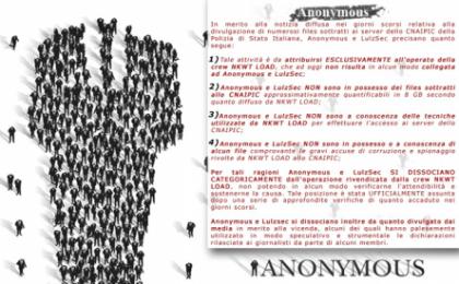 Gli hacker di Anonymous e LulzSec non hanno attaccato il CNAIPIC