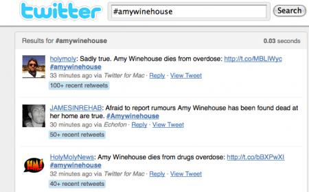 La morte di Amy Winehouse scuote Twitter e Facebook