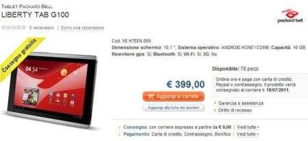 Il tablet Packard Bell Liberty Tab finalmente in Italia, ecco il prezzo