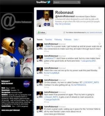 Anche Robonaut 2, l'astronauta robotico, usa Twitter dallo spazio!