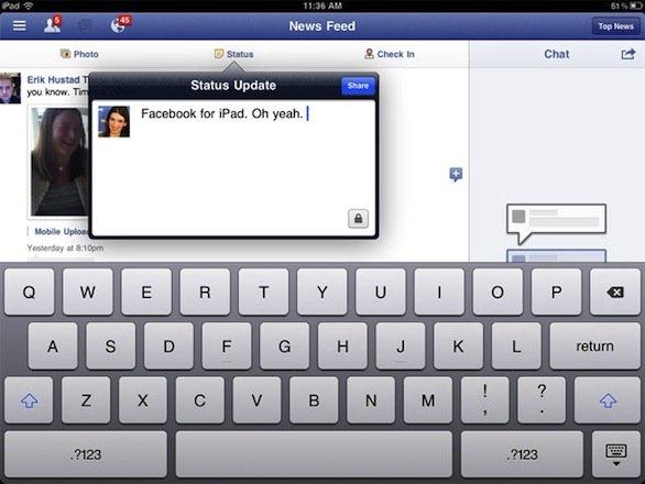 Facebook per iPad presentato finalmente il 4 ottobre?