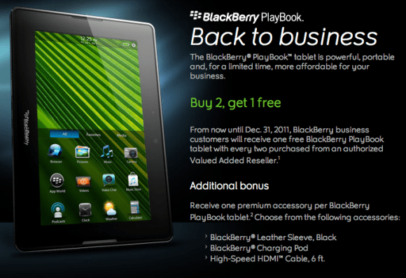 Blackberry Playbook: prendi 3 paghi 2