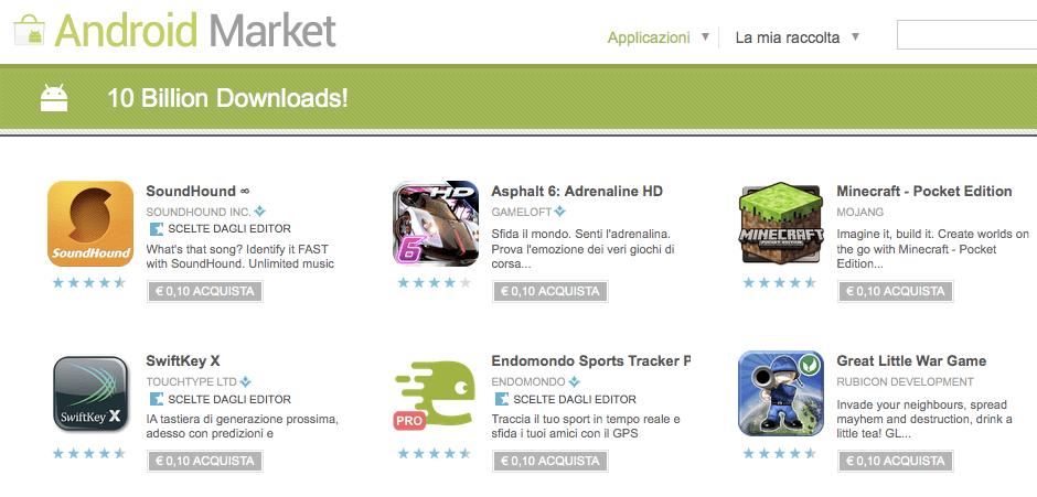 Android Market a quota 10 miliardi di download di app