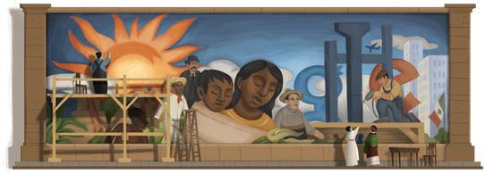 Google Doodle per Diego Rivera e i suoi murales