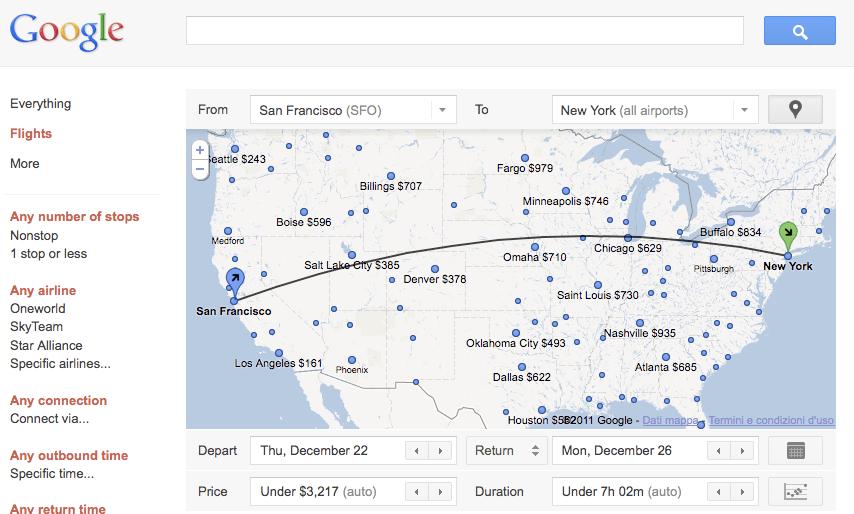 Google Flight prende finalmente il volo