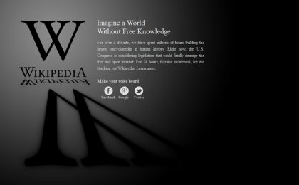 Wikipedia: boom di visitatori durante il blackout anti SOPA