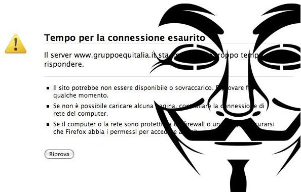 Gli Anonymous italiani attaccano Equitalia per abuso di potere