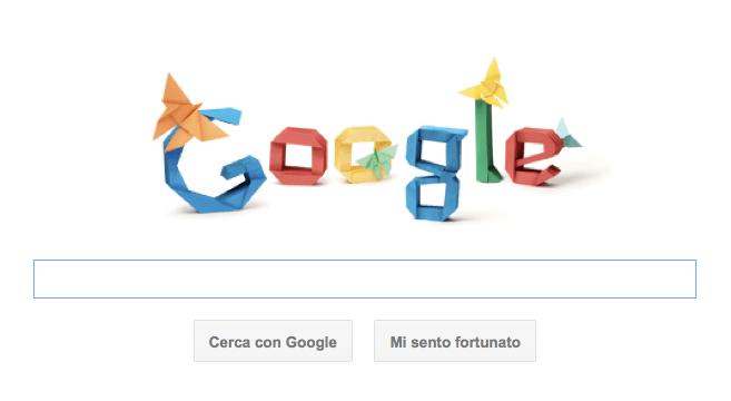 Google Doodle per Akira Yoshizawa con gli origami