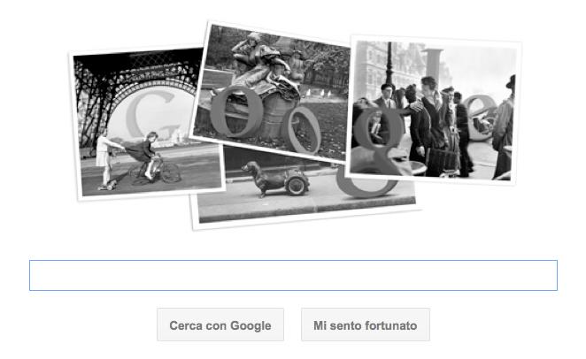 Google Doodle per Robert Doisneau con il logo fotografico