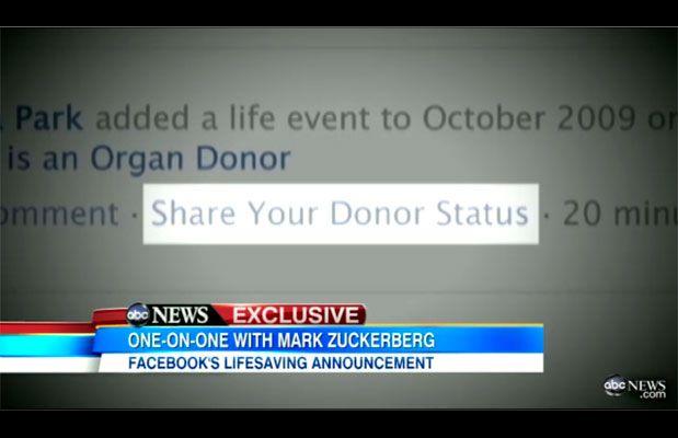 Facebook e lo status donatore di organi: il social network salverà vite