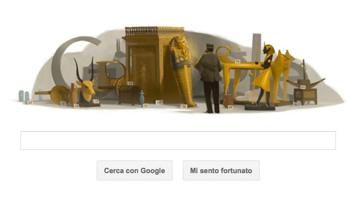Google Doodle per Howard Carter con la tomba maledetta di Tutankhamon