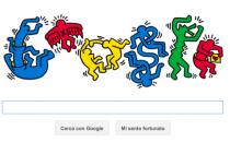 Google Doodle per Keith Haring con gli omini colorati