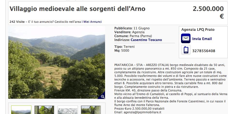 Asta eBay per un intero borgo diroccato al prezzo di 2.5 milioni di euro [FOTO]