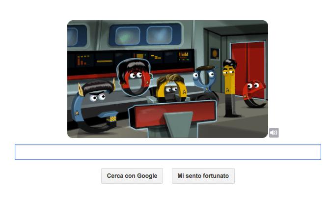 Google Doodle per Star Trek con una storia animata