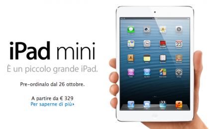 iPad Mini, prezzi maxi: dal 2 novembre in Italia