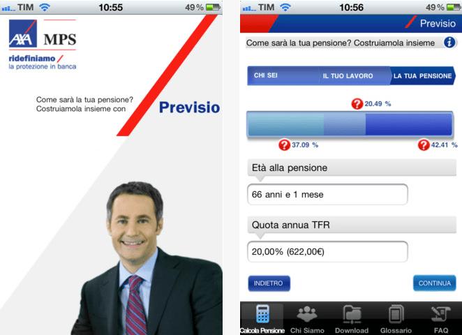 Previsio di AXA MPS: l'app iPhone per calcolare la tua pensione