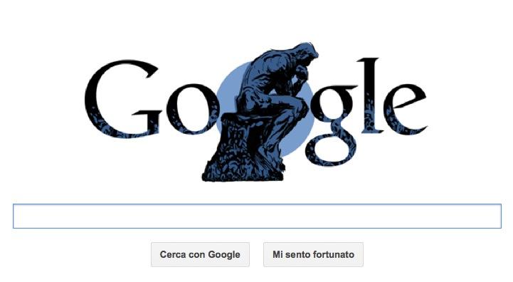 """Google Doodle per Auguste Rodin con il logo """"Pensatore"""""""