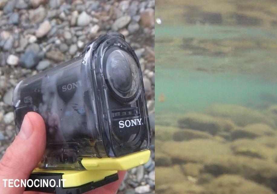 Sony AS15 sopra sotto acqua