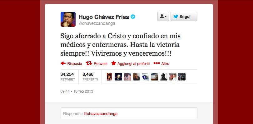 Chavez morto reazioni Twitter