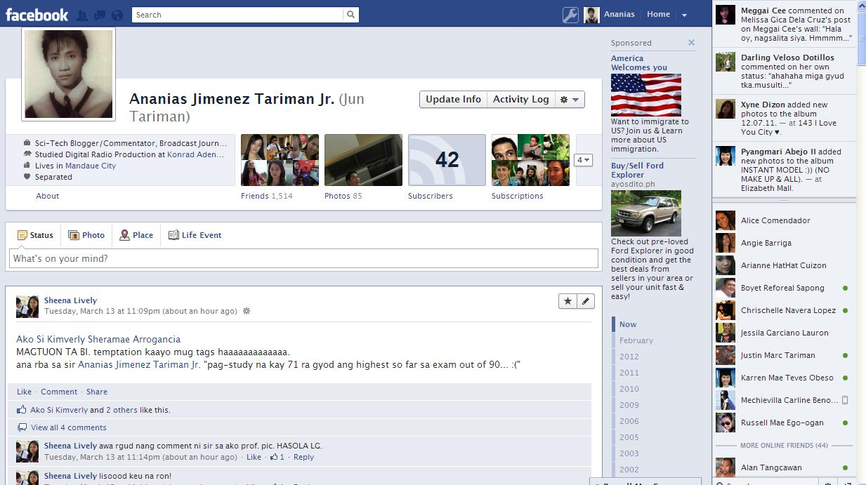 facebook diario timeline singola colonna