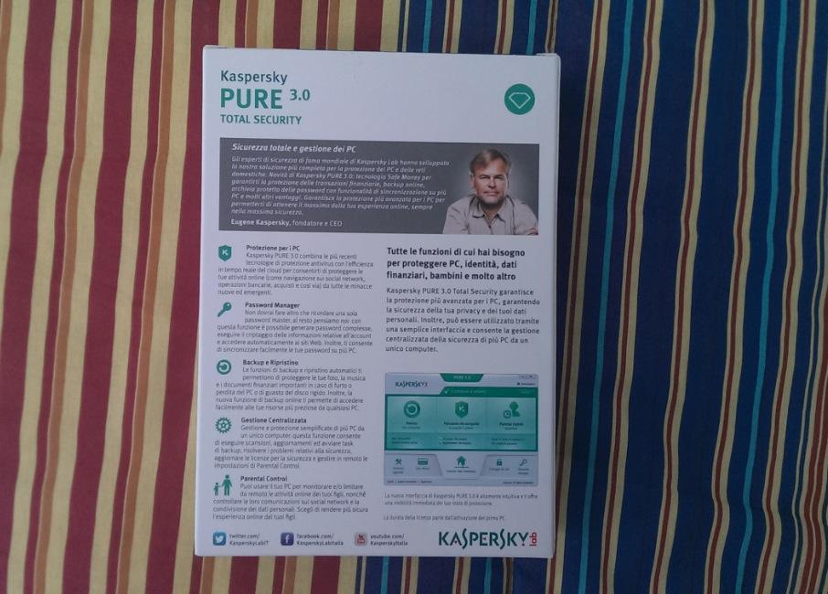 Kaspersky Pure 3.0 retro confezione