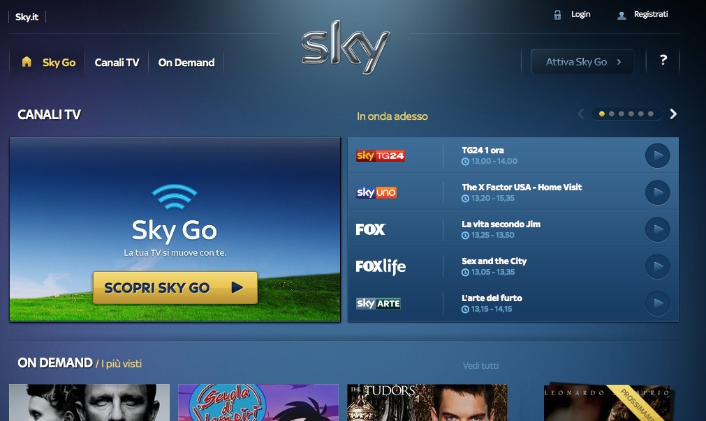 Sky Go Guida Android iPhone iPad