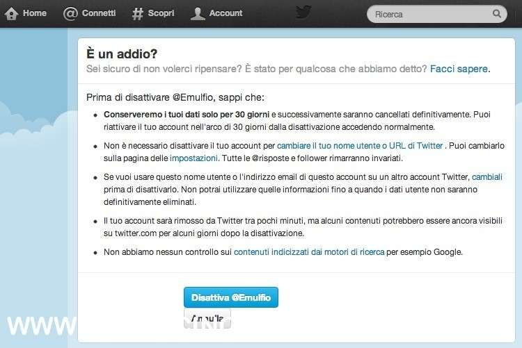 come cancellarsi da twitter