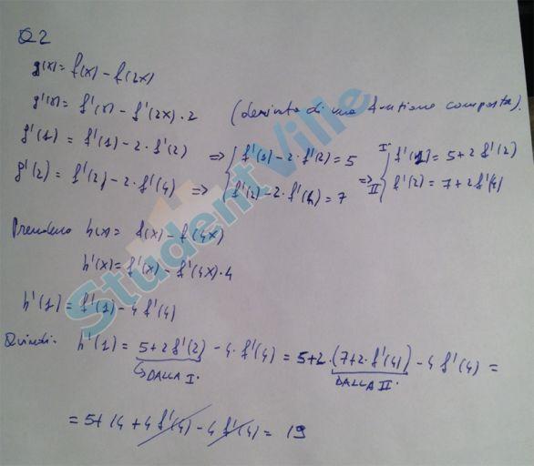 soluzione prova matematica quesito due