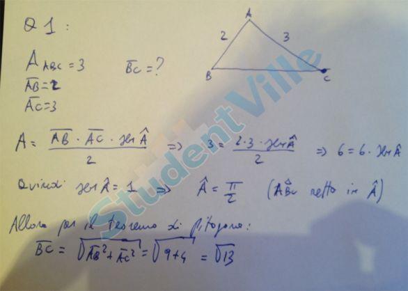 soluzione prova matematica quesito uno