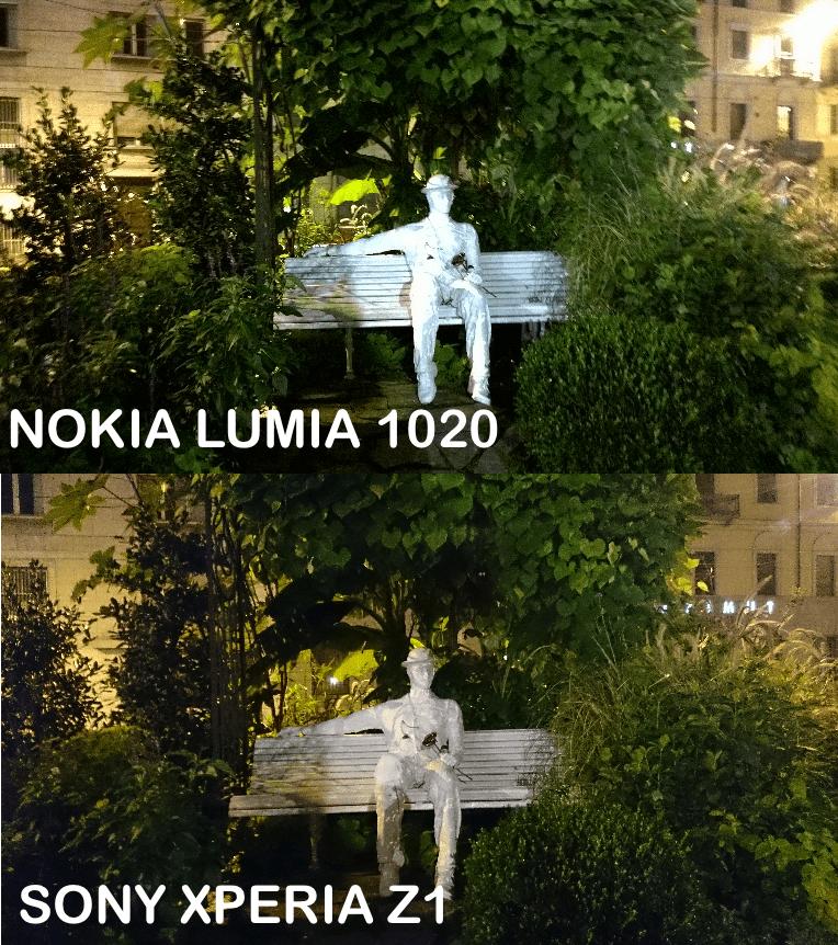 Sony Xperia Z1 vs Nokia Lumia 1020 foto notturna