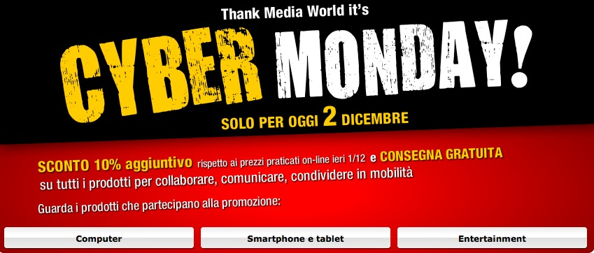 Mediaworld Cyber Monday 2013