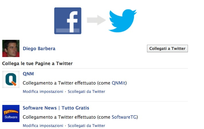 Collegare Facebook a Twitter