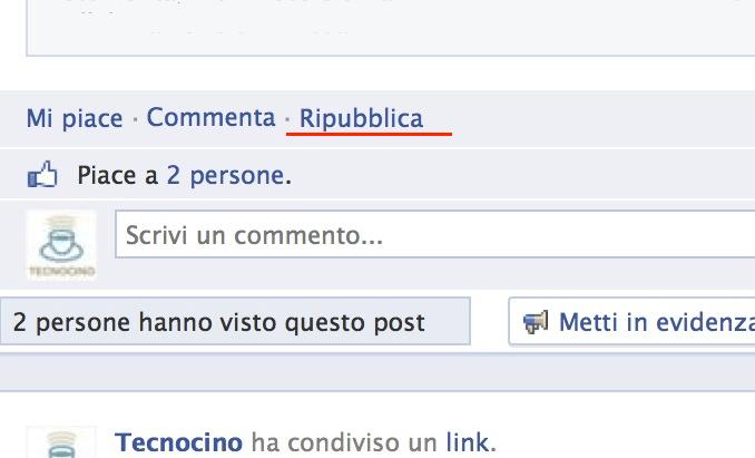 Facebook condividi ripubblica divulga diffondi