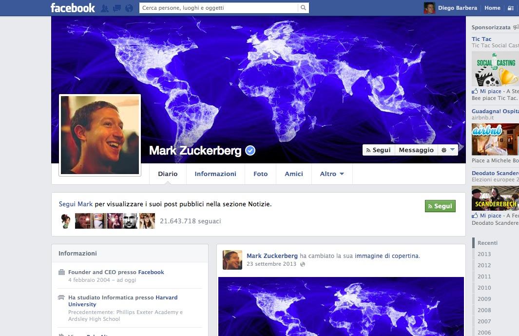 Facebook profilo Zuck