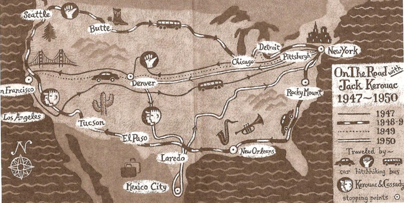 """Ebook per seguire svolta per svolta il viaggio di Kerouac """"Sulla Strada"""" via Google Maps"""