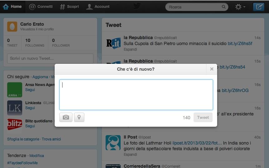 La finestra per pubblicare un tweet