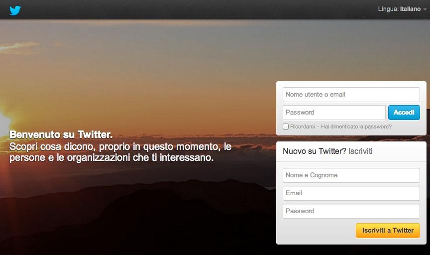 Pagina per Iscriversi a Twitter