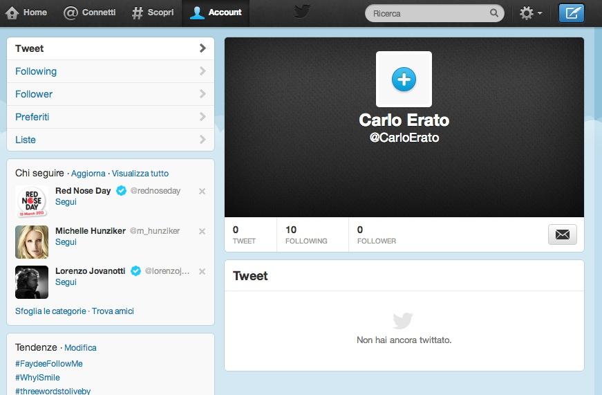 Pagina personale su Twitter