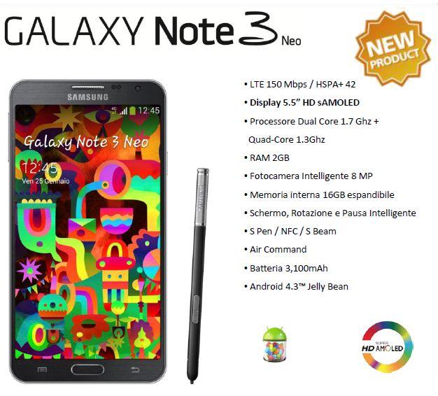 Samsung Galaxy Note 3 Neo scheda