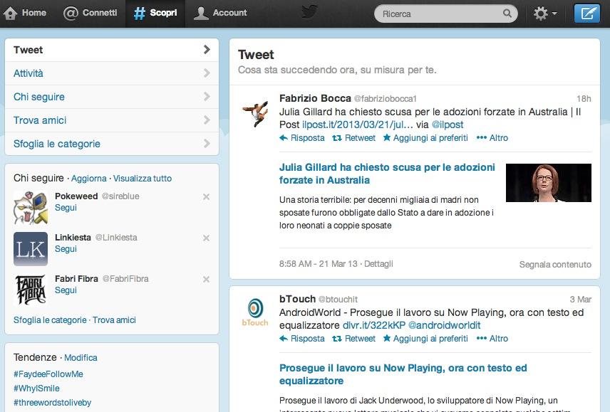 Tweet la pagina scopri