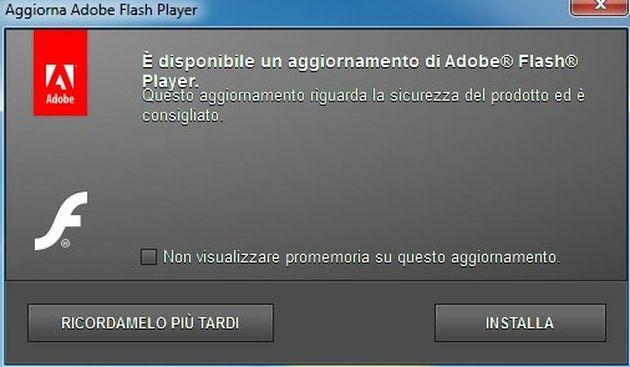 aggiornamento automatico adobe flash player