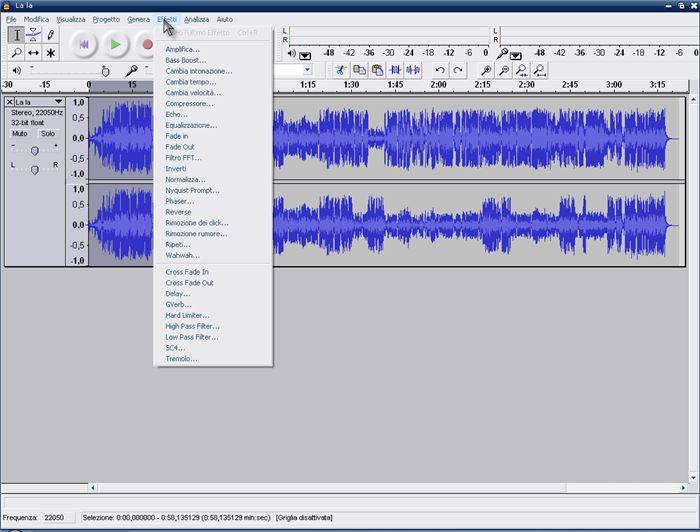 audacity registrare brano