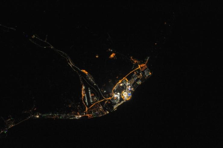 Le Olimpiadi di Sochi 2014 viste dalla ISS, nello spazio