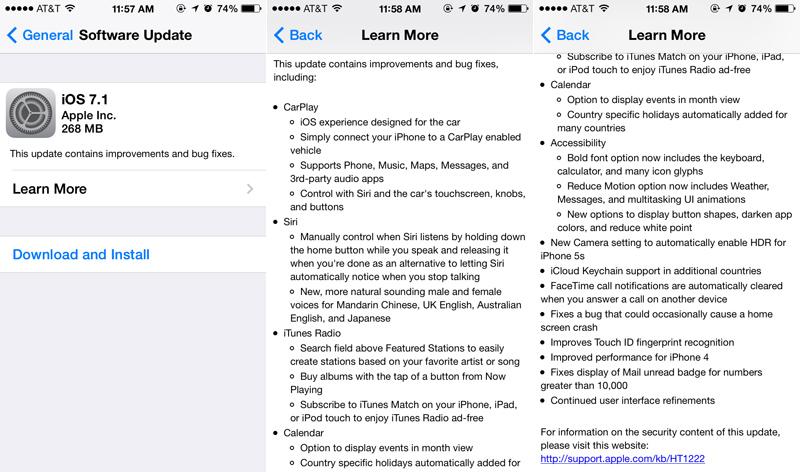 Changelog di iOS 7.1