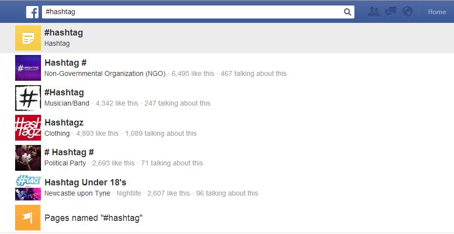 Ricerca Hashtag Facebook