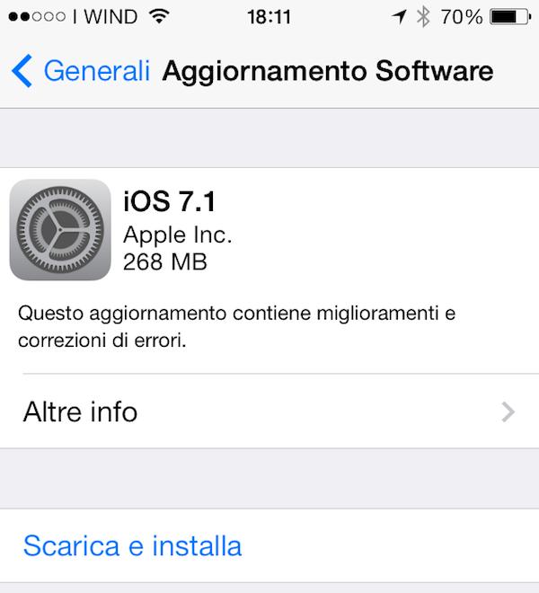 iOS 7.1 aggiornamento
