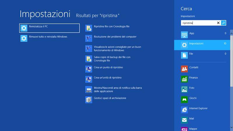 ricerca windows 8