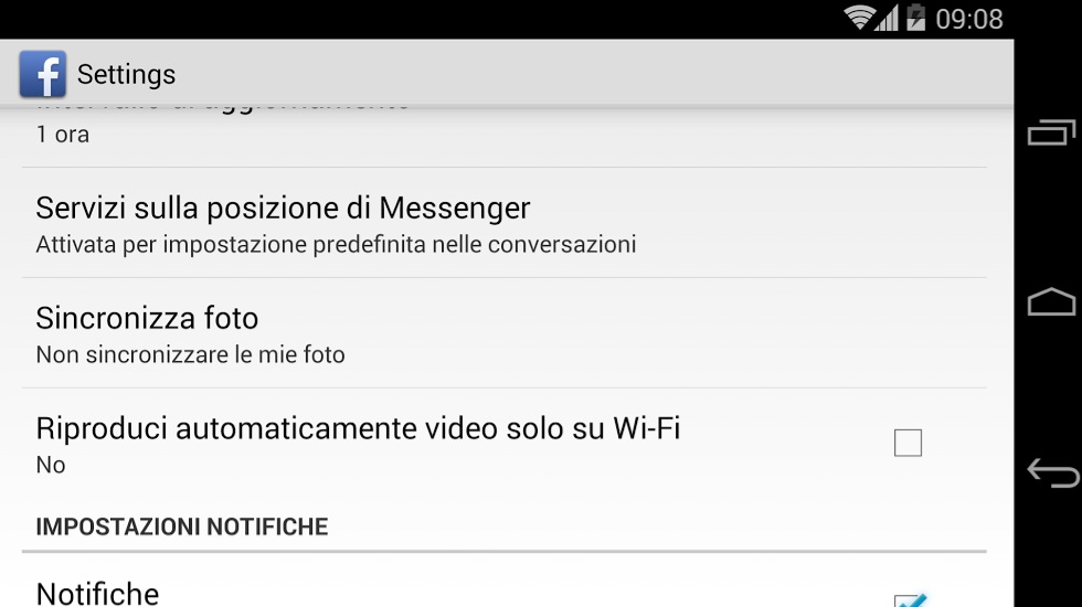 Disabilitare video automatici Facebook su Android