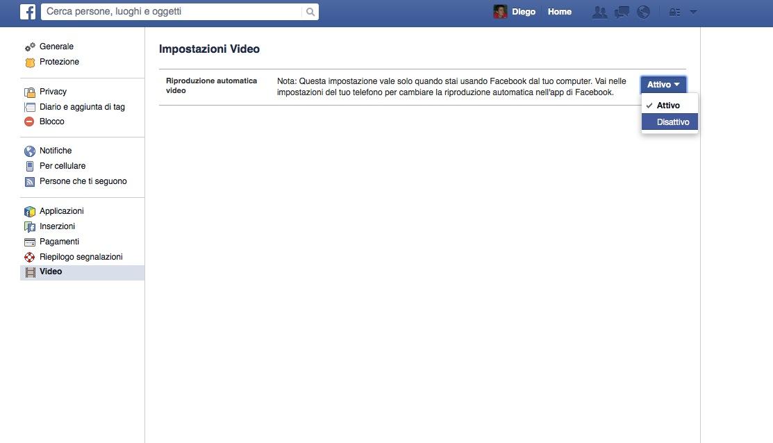 Disattivazione Video automatici di Facebook